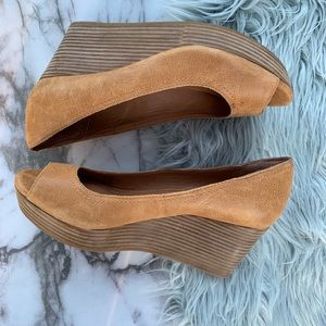 Lucky Brand Leather Peep Toe Stacked Heel Wedge